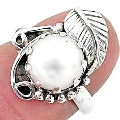 4.92cts solitaire natural white pearl 925 sterling silver leaf ring size 6 t6394