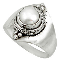2.68cts solitaire natural white pearl 925 sterling silver ring size 7.5 r40877