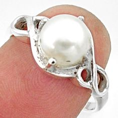 3.29cts solitaire natural white pearl 925 sterling silver ring size 7 r40571