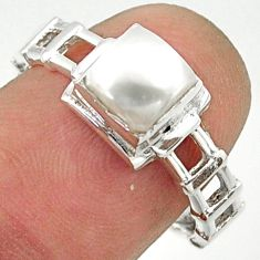1.30cts solitaire natural white pearl 925 sterling silver ring size 8 r40619