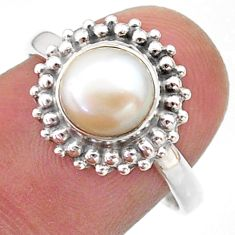 3.31cts solitaire natural white pearl 925 sterling silver ring size 8 t41291