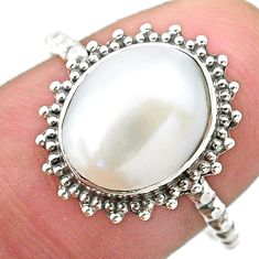 4.28cts solitaire natural white pearl 925 sterling silver ring size 8.5 t25289