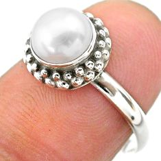 2.54cts solitaire natural white pearl 925 sterling silver ring size 7.5 t26098