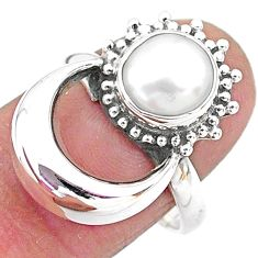 3.35cts solitaire natural white pearl 925 sterling silver ring size 7.5 t6395