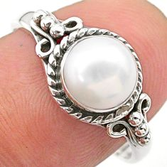 2.56cts solitaire natural white pearl round shape silver ring size 7.5 t26105