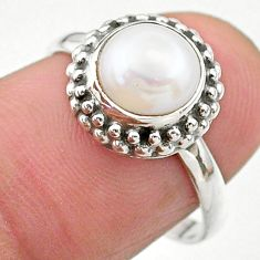 2.39cts solitaire natural white pearl round shape silver ring size 7.5 t26295