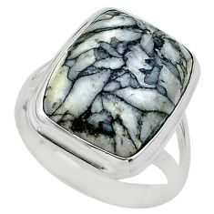 16.46cts solitaire natural white pinolith 925 silver ring size 11 t24628