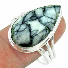 16.17cts solitaire natural white pinolith 925 silver ring size 11 t54201
