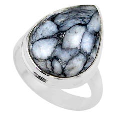 9.33cts solitaire natural white pinolith 925 sterling silver ring size 6 t27665