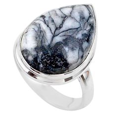 9.90cts solitaire natural white pinolith 925 sterling silver ring size 6 t27669