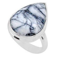 12.55cts solitaire natural white pinolith 925 sterling silver ring size 6 t27681