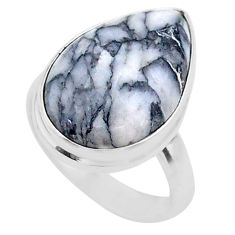 10.31cts solitaire natural white pinolith 925 sterling silver ring size 6 t27687