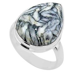 9.92cts solitaire natural white pinolith 925 sterling silver ring size 6 t27691