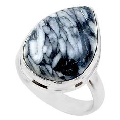 12.06cts solitaire natural white pinolith 925 sterling silver ring size 6 t27741