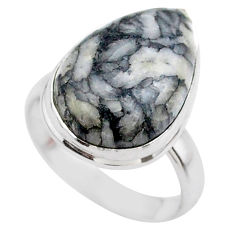 11.19cts solitaire natural white pinolith 925 sterling silver ring size 7 t27675