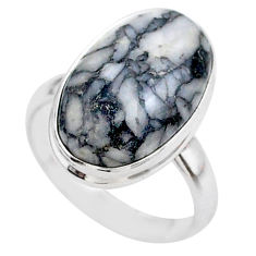 8.44cts solitaire natural white pinolith 925 sterling silver ring size 7 t27676