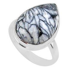 10.43cts solitaire natural white pinolith 925 sterling silver ring size 7 t27684