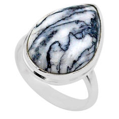 13.57cts solitaire natural white pinolith 925 sterling silver ring size 7 t27688