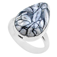 14.23cts solitaire natural white pinolith 925 sterling silver ring size 8 t27694