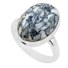 9.99cts solitaire natural white pinolith 925 sterling silver ring size 8 t27695