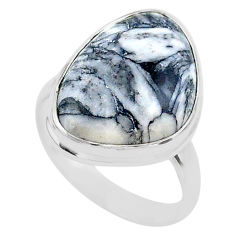 14.06cts solitaire natural white pinolith 925 sterling silver ring size 8 t27698