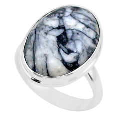14.72cts solitaire natural white pinolith 925 sterling silver ring size 8 t27701