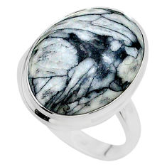 15.47cts solitaire natural white pinolith 925 sterling silver ring size 9 t24640