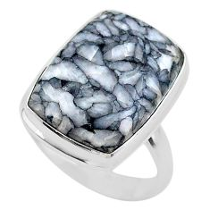 12.83cts solitaire natural white pinolith 925 sterling silver ring size 9 t27693