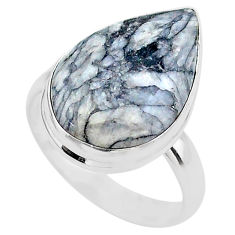 14.18cts solitaire natural white pinolith 925 sterling silver ring size 9 t27697
