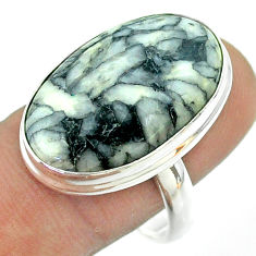 16.17cts solitaire natural white pinolith 925 sterling silver ring size 9 t54196