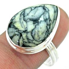 14.26cts solitaire natural white pinolith 925 sterling silver ring size 9 t54202