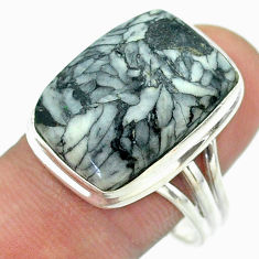 15.76cts solitaire natural white pinolith octagan 925 silver ring size 10 t54205
