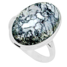 19.00cts solitaire natural white pinolith oval 925 silver ring size 11 t24633