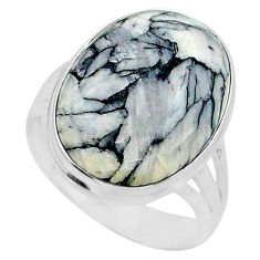 15.33cts solitaire natural white pinolith oval 925 silver ring size 9.5 t24631