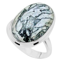 17.59cts solitaire natural white pinolith oval 925 silver ring size 9.5 t24638
