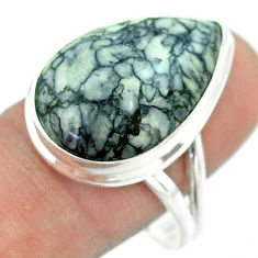 16.70cts solitaire natural white pinolith pear 925 silver ring size 10 t54222