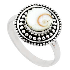 2.27cts solitaire natural white shiva eye round 925 silver ring size 6.5 t20289