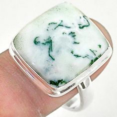 17.95cts solitaire natural white tree agate 925 silver ring size 10 t42817