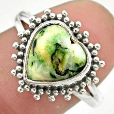 5.23cts solitaire natural white tree agate heart 925 silver ring size 7.5 t41606