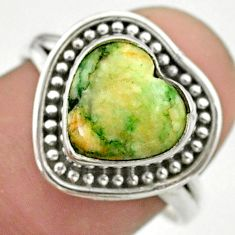 5.28cts solitaire natural white tree agate heart 925 silver ring size 7.5 t41649