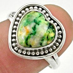 5.12cts solitaire natural white tree agate heart 925 silver ring size 7.5 t41651