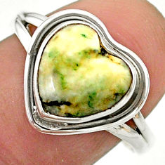 4.71cts solitaire natural white tree agate heart 925 silver ring size 8.5 t41667