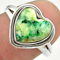 5.02cts solitaire natural white tree agate heart 925 silver ring size 7.5 t41668