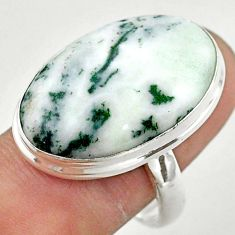 18.70cts solitaire natural white tree agate oval 925 silver ring size 9 t42809