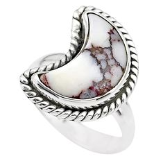 5.03cts moon natural white wild horse magnesite silver ring size 6 t22166