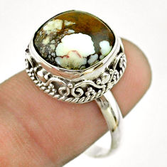 6.58cts solitaire natural wild horse magnesite 925 silver ring size 8.5 t55869