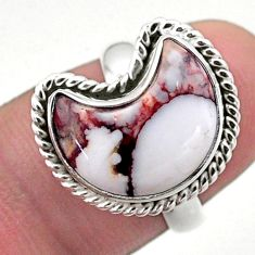 5.51cts solitaire natural wild horse magnesite silver moon ring size 6 t47697