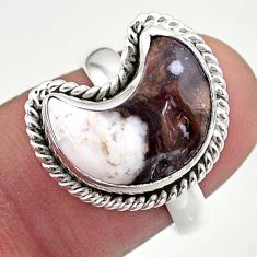 5.81cts solitaire natural wild horse magnesite silver moon ring size 7 t47649