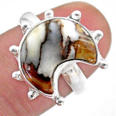 5.58cts solitaire natural wild horse magnesite silver moon ring size 7 t47860