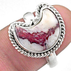 5.80cts solitaire natural wild horse magnesite silver moon ring size 8 t47698